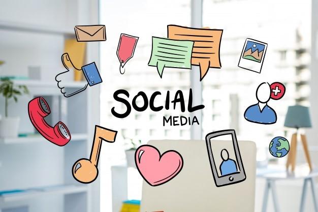 Ilustraciones de diferentes iconos de redes sociales